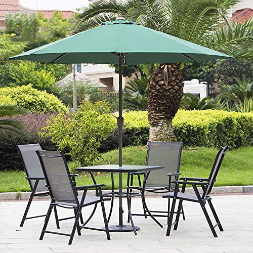 FJPAIPP Juego de Muebles de jardín Plegable 4 + 1 Sillas de Mesa Juego de Mesa Hecho de Vidrio Templado, Puede Colocar sombrillas de jardín