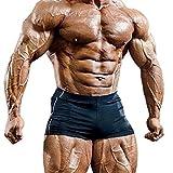 Musclealive Mens Gym Tight 4 Inseam Bodybuilding Homme Shorts Polyester et Lycra,Noir,L- (taille 33,5 Pouce-37,4Pouce)