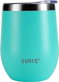SUNTQ ワイン タンブラー スプラッシュ蓋付き 真空断熱マグ ホーム オフィス スクール アイスドリンク ホットビバレッジ ウェディングギフ用 エコ(350ml、グリーン)