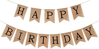 INNORU Burlap Happy Birthday Banner Rustic Birthday Party Bunting Banners