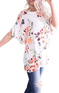 LAINAB Womens Summer Short Sleeve Floral Print T Shirt Casual Loose Fit Tunic Tops Blouse