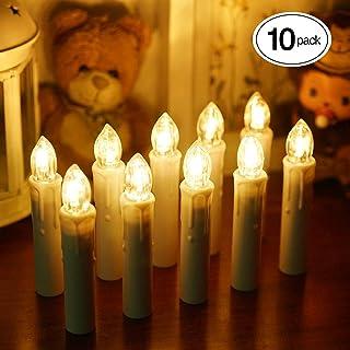BlueFire LEDキャンドルライト 電池式蝋燭ろうそくイルミネーション 多様機能リモコン タイマー 点滅機能/燭台付き ホーム飾り/庭/結婚式/パーティー/クリスマス装飾ライト ロマンチックな雰囲気作り 安心安全 10本 (ホワイト)