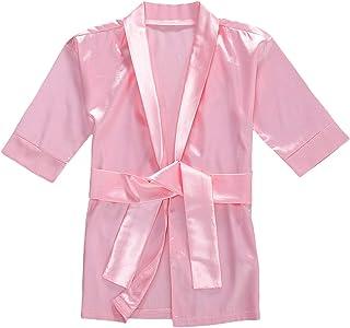 Baby Girl Silk Satin Gown Sleepwear Plain Kimono Robe Toddler Kids Nightwear Outfit