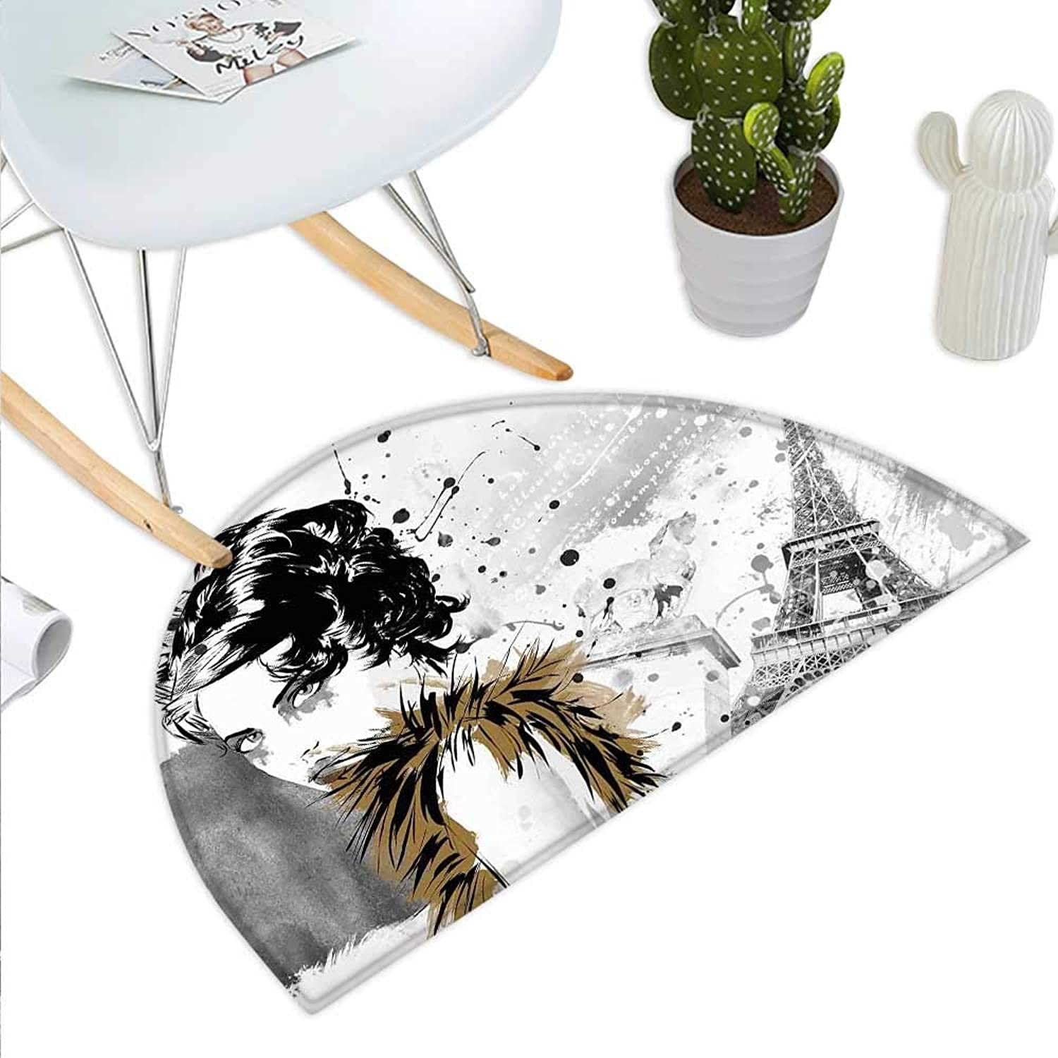 Modern Semicircle Doormat Posing Fashion Model Girl with Feathers and Dots Paris Eiffel Contemporary Artful Halfmoon doormats H 35.4  xD 53.1  Grey White