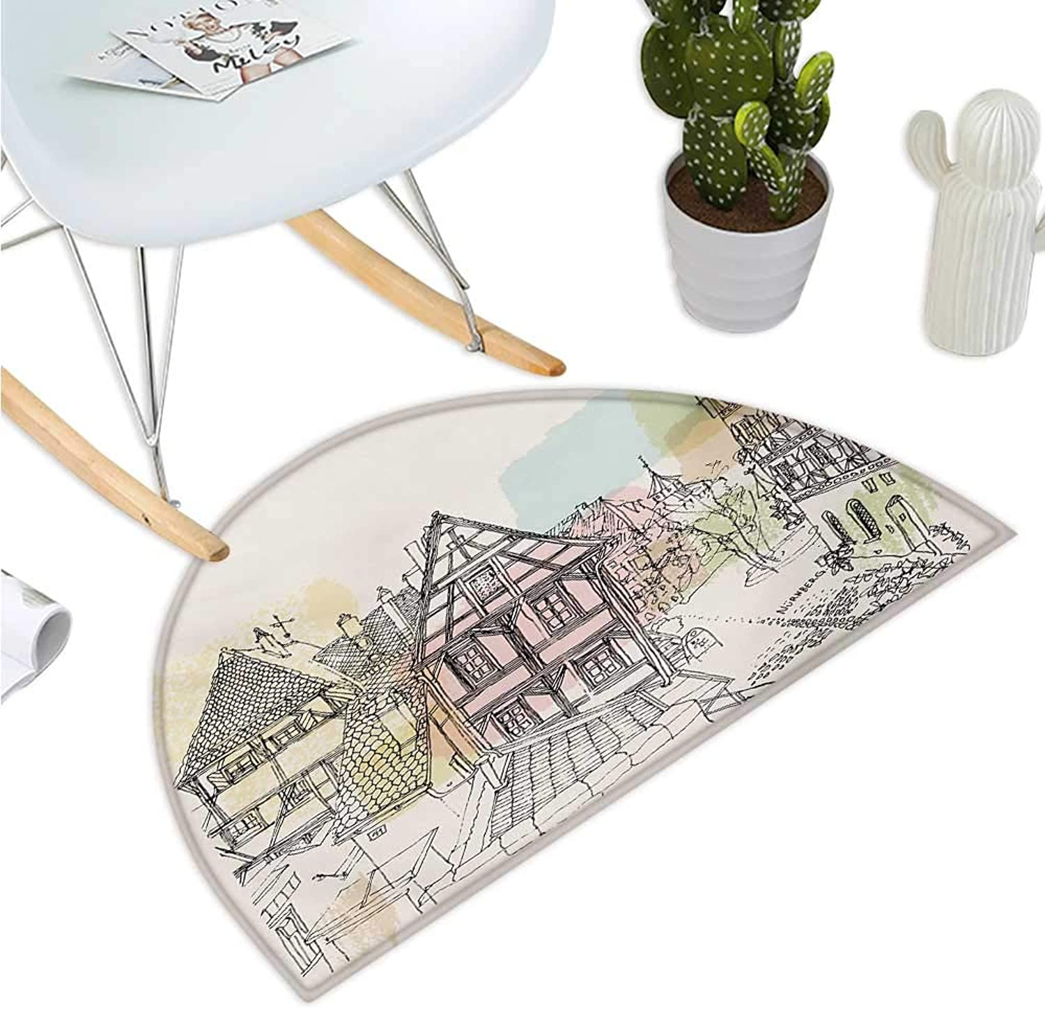 German Semicircular Cushion Historic Traditional Scene Nuremberg Germany Classical Timber Houses Illustration Halfmoon doormats H 39.3  xD 59  Multicolor