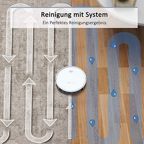 Saugroboter,TESVOR X500pro Saug-Wischroboter 2 in 1 Intelligente Gyroskope-Navigation Reinigungsroboter 350ML elektronischer Wassertank Reinigungsanzeige in Echtzeit für Glattböden - 2
