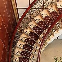 ノンスリップ階段用階段マットマット|1Stück、自己粘着マット段階段、あなたの階段レッドブラウンのための魅力的なステージ保護,ブラウン,24*100cm