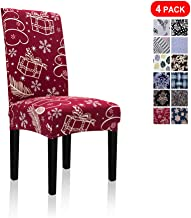 Stretch Jacquard Print Removable Washable Short Dining Chair Covers Seat Slipcover Furniture Protector for Hotel, Dining Room, Kitchen, Banquet Wedding Party (4 Per Set, Gift Christmas-red Cr)
