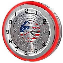 Redeye Laserworks United States Marine Corp Red 18 Double Neon Garage Clock from