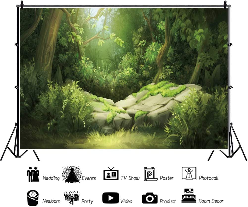 OERJU 5x4ft Cartoon Forest Backdrops for Photography Green Trees Backdrops for Photoshoot Baby Shower Cake Table Banners Happy Birthday Party Portrait Photo Studio Props Video Making Wallpaper