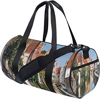 LONSANT Vivid Scenery with Water Canal in Bruges Old Town European Fairy Heritage Barrel Duffel Bag Sports Yoga Gym Fitness Bag Travel Weekender Bags for Men and Women