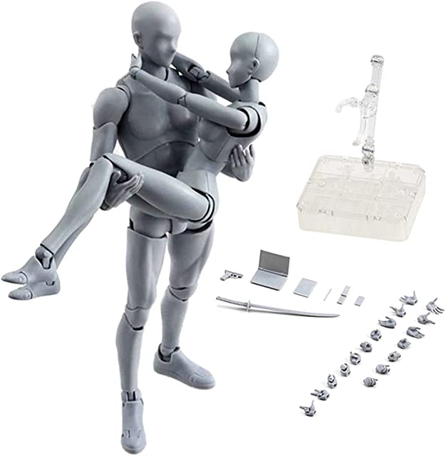Espeedy Modelo de modelado de pinturaCuerpo Chan y Kun muñeca macho hembra DX conjunto de PVC Movebale figura de acción modelo para los regalos SHFVersión de lujo del modelo del cuerpo