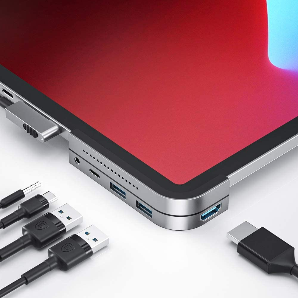 iPad Pro USB C Hub, Baseus 6-in-1 Adapter for iPad Pro 2020 2019 2018, Upgrade Type C Dongle to 4K HDMI 2.0, USB 3.0, SD/Micro SD Card Reader, 3.5mm Earphone Jack, Type C PD Charger&Independent Switch