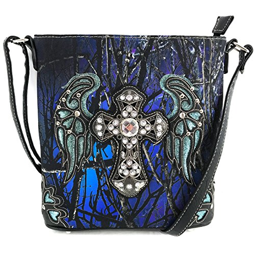 Justin West Camouflage Tree Branches Bling Rhinestone Cross Handbag Purse (Blue Messenger Only)