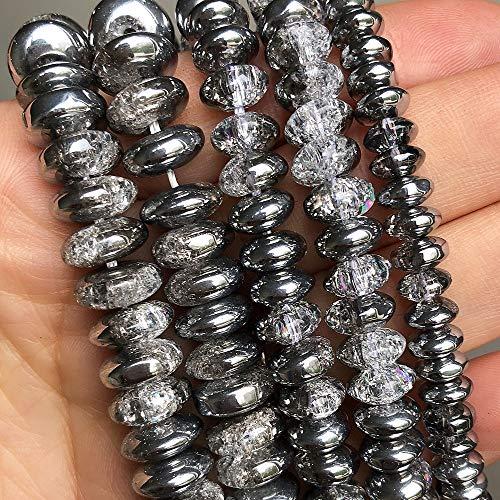 盛世汇众 One Side Plated Silvery White Snow Cracked Crystal Rondelle Beads 6 8 10mm Round Beads For Jewelry DIY Bracelet Accessories 15' color : 8mm (approx 85pcs)