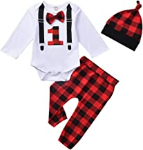 Baby Boy First Birthday Outfit, Infant Buffalo Plaid Gentlemen Romper Bodysuit for 1st Birthday Party Cake Smash Clothes