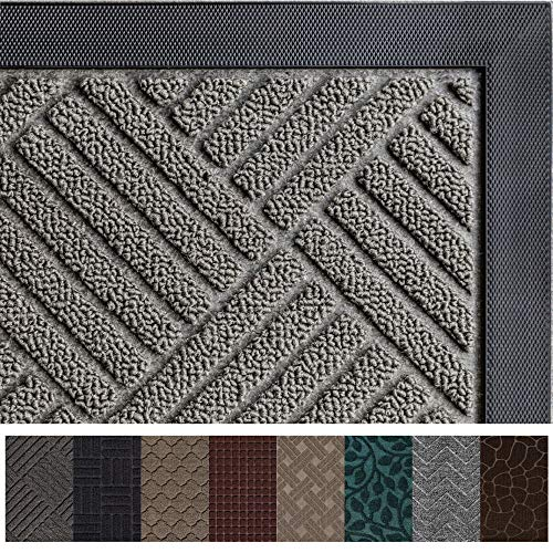 Gorilla Grip Original Durable Rubber Door Mat, 72x24, Heavy Duty Runner Doormat for Indoor Outdoor, Waterproof, Easy Clean, Low-Profile Rug Mats for Entry, Patio, High Traffic Areas, Gray Diamond