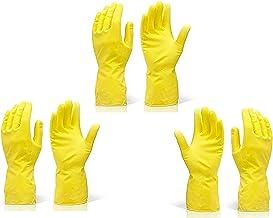 TWENOZ Cleaning Gloves Reusable Rubber Hand Gloves, Stretchable Gloves for Washing Cleaning Kitchen Garden (Yellow, 3 Pair, Medium)