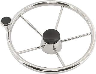 "YaeMarine Stainless Steel Boat Steering Wheel 5 Spoke 13-1/2"" Dia, Marine Wheel with Big Size Knob & Black Cap-9103SF2"