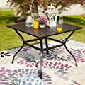 "LOKATSE HOME 37"" x 37"" Patio Dining Table Square Outdoor Metal Steel Frame with Umbrella Hole, Black"