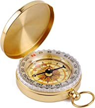 Hinyyrin Brass Compass retro clamshell compass boating compass camping compass outdoor folding compass waterproof Luminous...