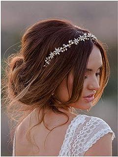 Ushine - Cerchietto per capelli con fiori e rampicanti con strass, accessorio per capelli per spose e damigelle