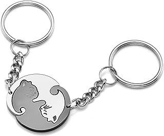 1 Paar niedliche Katze Schlüsselanhänger für Liebhaber von Schmucklegierungen*JF