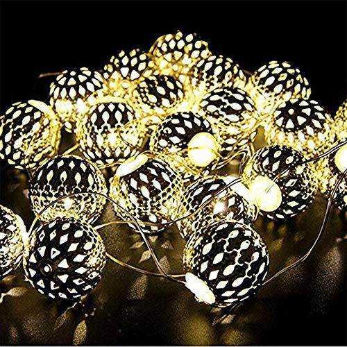 Guirlande Décorative Lumineuse - Design en forme de Boule (Couleur Argent) - Éclairage LED Blanc Chaud sur Câble Transparent Flexible à Piles (1.5m 10Led)