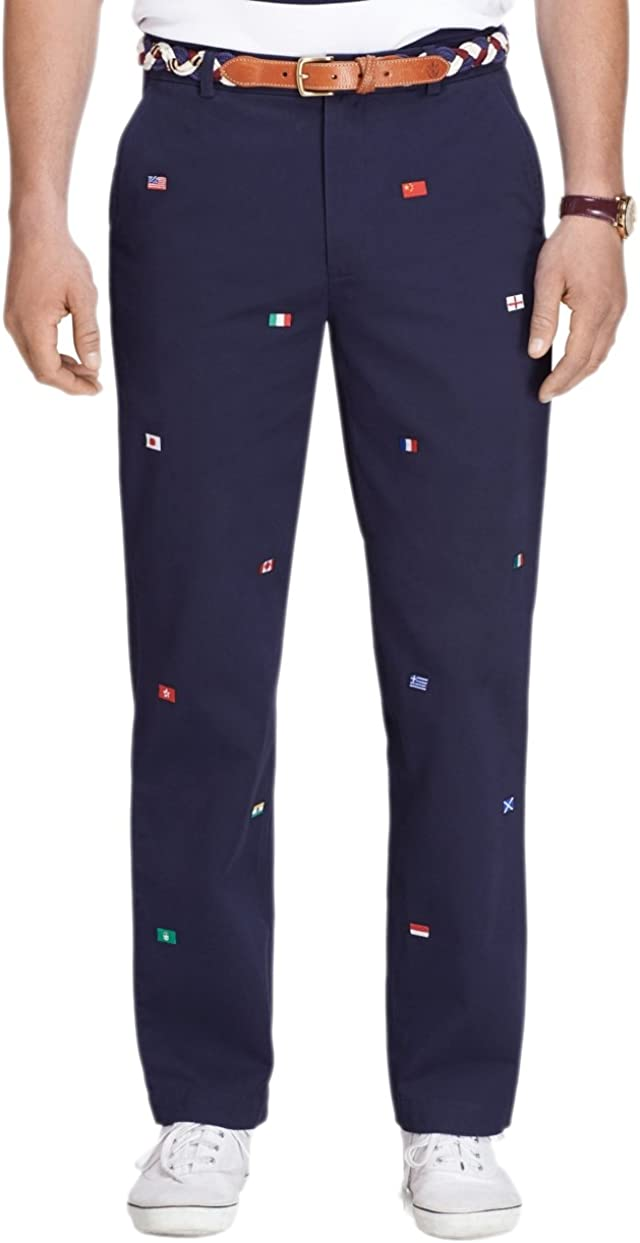 Brooks Brothers Men's Clark Fit Flag Embroidered Twill Casual Pants Navy Blue 38W x 32L