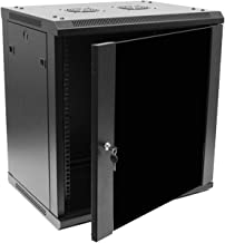 NavePoint 12U Deluxe IT Wallmount Cabinet Enclosure 19-Inch Server Network Rack with Locking Glass Door 16-Inches Deep Black