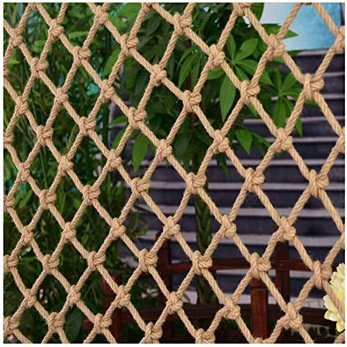 Genrics Red de seguridad para niños, decoración de red de pesca, red de escalada, cuerda de cáñamo, red de seguridad para niños, red anticaída retro, decoración de pared, balcón, personalizable, Beige-6 mm., 1x6m