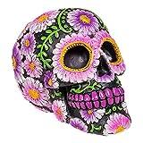 Nemesis Now Sugar Petal Skull Figura Decorativa de 15 cm, con diseño de Calavera con Flores, Negra...