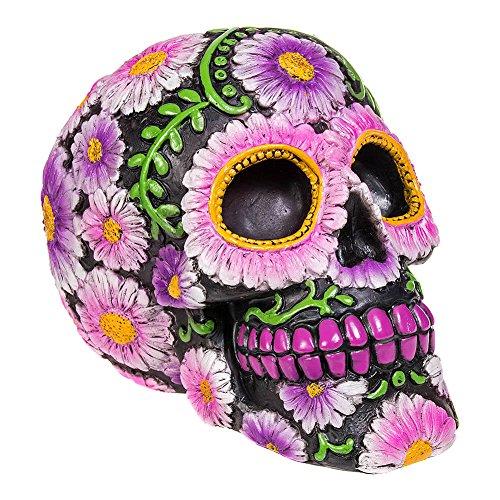 Nemesis Now Sugar Petal Skull Figura Decorativa de 15 cm, con diseño de Calavera con Flores, Negra