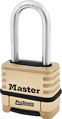 "Master Lock 1175LHSS ProSeries Set Your Own Combination Lock, 2-1/4"" Wide, Brass"