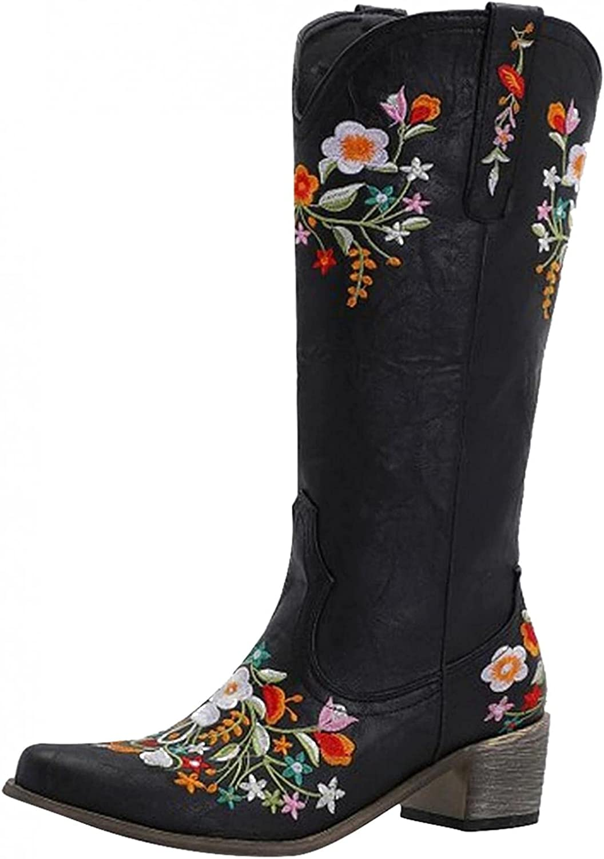 PGOJUNI Boots Women Cowgirl Cowboy Max 81% OFF Stitched Western Fresno Mall