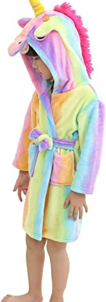 LANTOP Kid Soft Bathrobe Comfy Unicorn Flannel Robe Hooded All Seasons Gift