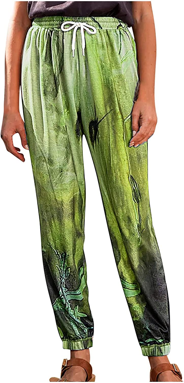 JPVDPA Women's Casual Print Trousers Wide Straight Leg Long Pants High Waist Work Trousers Fashion Sports Pants