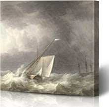 Ahawoso Canvas Prints Wall Art Printing 16x16 Watercolor 1800S Two Sailing Ships Rough Seas Ink by Painting Blue Dutch Ocean Stormy 19Th Animals Painting Artwork Home Living Room Office Bedroom Dorm