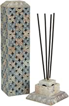 Indoselection® Fashion Hand Carved Soapstone Moss Finish Vertical Incense Stick Holder Cum Stand for Diwali/Home Accent Gifting,(Grey