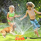Sprinkler for Kids Water Sprinklers for Yard with Roating Spray Nozzles Large Area Outdoor Outside Toys for Kids Ages 2-4 4-8 8-12 Summer Water Toy for Boys Girls Toddlers Backyard Lawn Yard Games