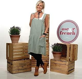 Linen Apron, Linen Cross Back Apron, Japanese Apron, Pinafore Apron, Linen Apron Dress, Artisan Craft Apron