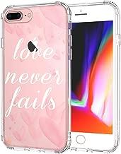 MOSNOVO iPhone 8 Plus Clear Case, iPhone 7 Plus Case, Love Never Fails Clear Design Transparent Printed Plastic Back Case with TPU Bumper Case Cover for iPhone 7 Plus/iPhone 8 Plus