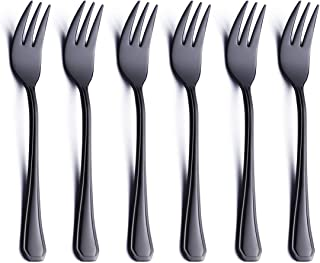6 Piece Oyster Cocktail Fork Set Black 18/0 Stainless Steel 6.7 Inch Small Dessert Cake Fork Serving for 6 Appetizer Silverware Flatware Forks Only Bulk Modern Heavy Weight Eating Cutlery Mirror Polis