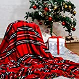 """Bedsure Christmas Plaid Blanket Throw Size, Soft Chenille Decorative Blanket with Tassel for Couch, Sofa, Bed and Home Decor (Red, 50""""x60"""")"""