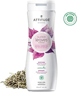 ATTITUDE Super Leaves, Hypoallergenic Soothing Body Wash, White Tea Leaves, 16 Fluid Ounce