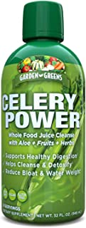 Garden Greens Celery Power Whole Food Juice Cleanse with Aloe + Fruits + Herbs, 32 Oz