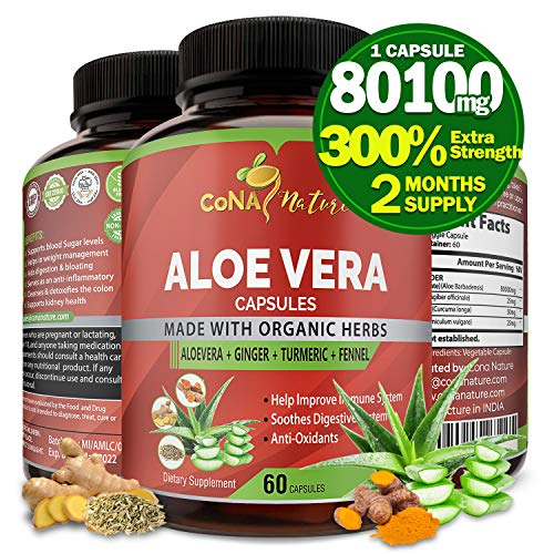Organic Aloe Vera Extract Capsules 80100MG with Turmeric, Ginger, Fennel | Supports Immune and Digestion System| Anti-Inflammatory, Antioxidants| Multi Nutrients, Vitamins Supplements, 2 Months Supply