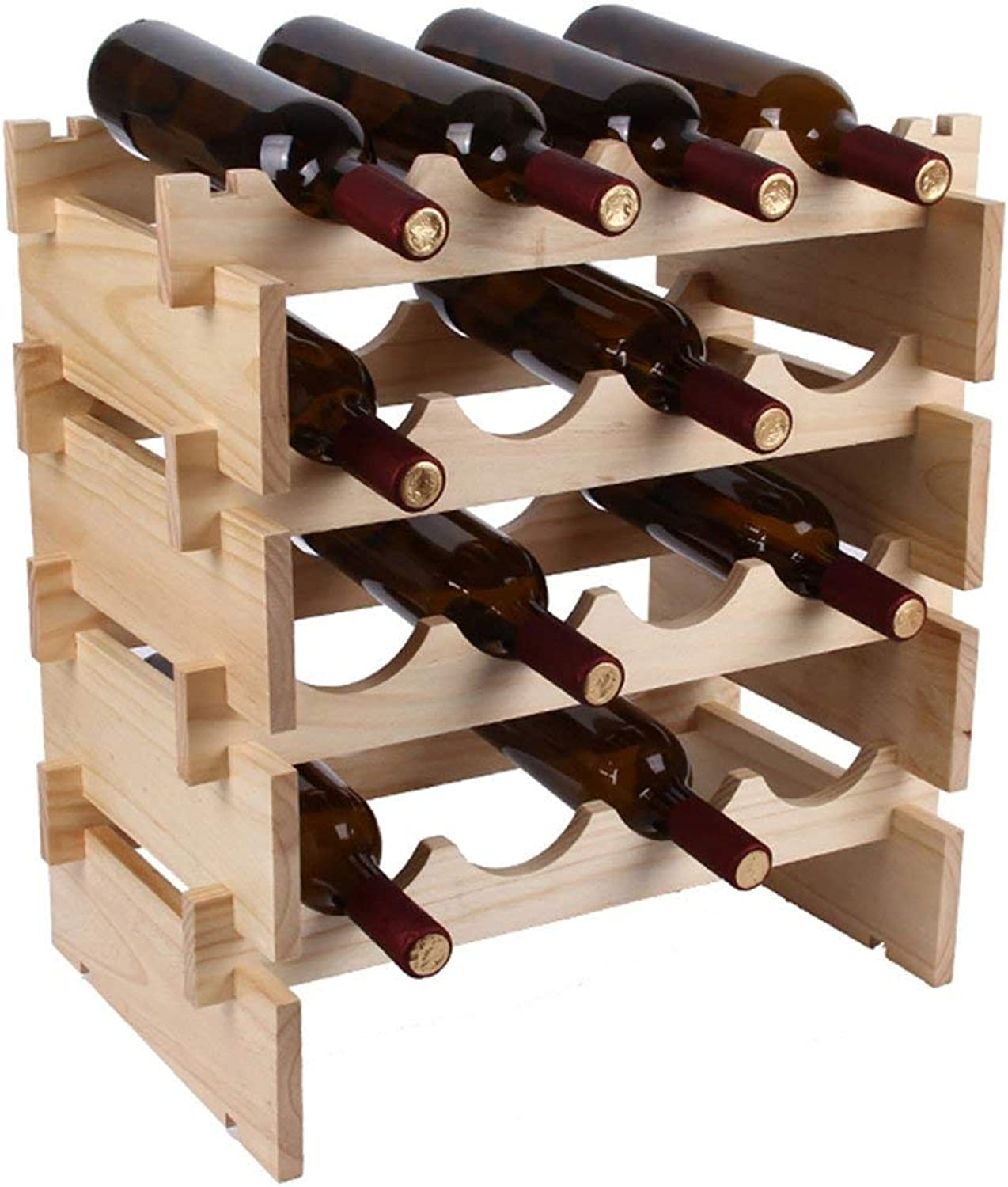 Red Wine Shelf Primary color European Wooden Wine Rack, Living Room Kitchen Household Simple Solid Wood Superimposed Wine Rack Decoration 50X32X28cm (Size   B) (Size   D)