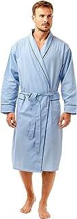 Mens Nightwear Poly Cotton Dressing Gown Wrap Robe Lightweight Blue Navy Size S-XXL