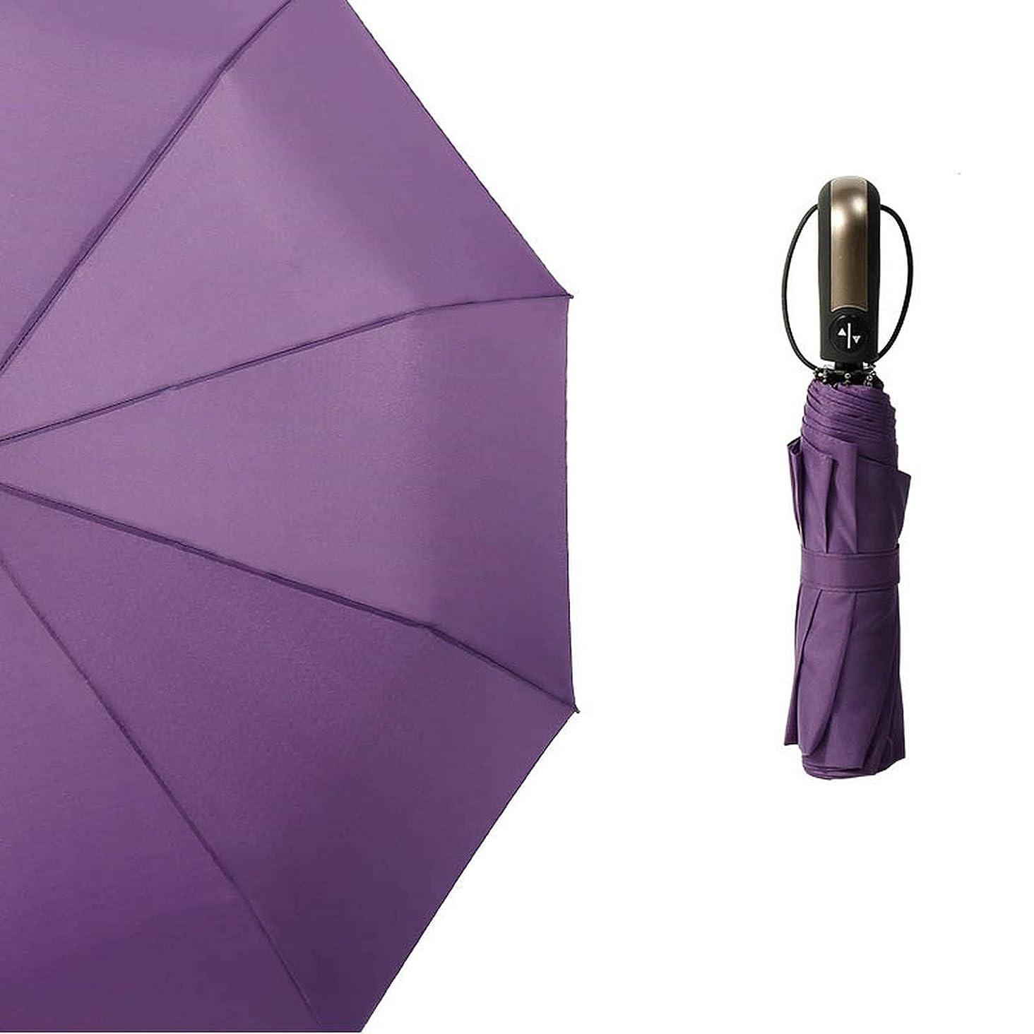 1 Pc Portable Sunny Rainy Umbrella Dual-Purpose Umbrella Windproof 3 Folding 10 Bone Commercial Automatic,Purple